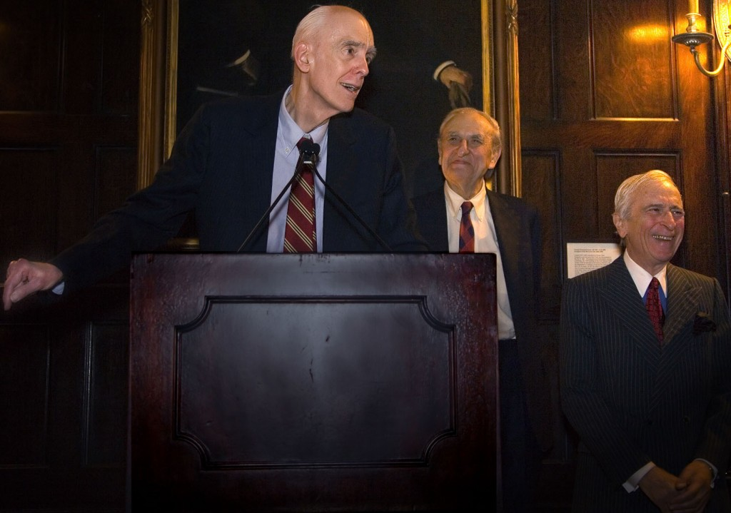 Phillips receiving Gegrapha's Jacob Riis Award. Right: Art Gelb, former managing editor of The New York Times; and Gay Talese, writer.
